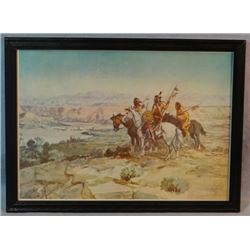 """2 C. M. Russell prints, Squaw Travois and Wagons Westward, 9"""" x 14"""" each, framed"""