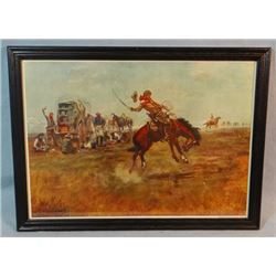 """2 C. M. Russell prints, Riders of The Rough String and Redskin Raiders, 9"""" x 14"""" each, framed"""