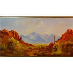 """Kay original oil on canvas, Oak Creek, Sedona, AZ, 12"""" h x 24"""" w, framed"""