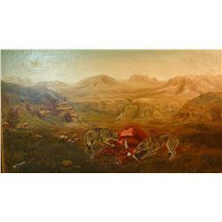 "Thoen, Ed oil on canvas, 20"" h x 36"" w, wolves"
