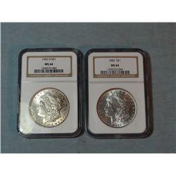 2 Morgan dollars, 1886 and 1902-O, both NGC 64
