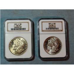 2 Morgan dollars, 1881-S and 1883-O, both NGC 64