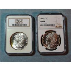 2 Morgan dollars, 1885-O and 1886, both NGC 64