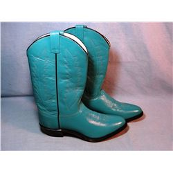 Ladies cowboy boots, turqouise, size 10, like new