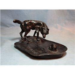 "Russell, C. M. recast bronze, Wolf ash tray, 4""X 6 1/2"""