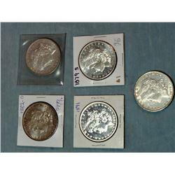 5 Morgan dollars,  1891, 1897 O, 1879 S, 1882 O, 1878, ungraded