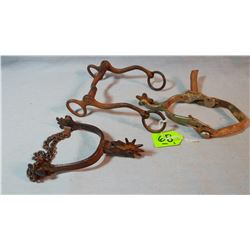North and Judd single spur; Iron pony bit, original and & August Buermann single spur with chains