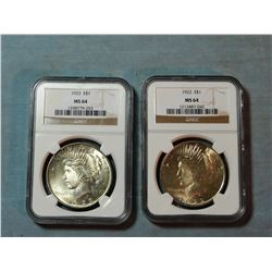2  Peace dollars, 1922 and 1923, both NGC MS 64