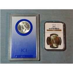 2 Peace dollars, 1922 and 1923, NGC MS 64 ICI MS 64