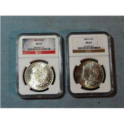 2 Morgan dollars, 1883-O and 1885-O, both NGC MS 63
