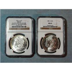 2 Morgan dollars, 1885-O and 1881-S, both NGC 63