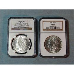 2 Morgan dollars, 1885-O and 1883-O, both NGC 63