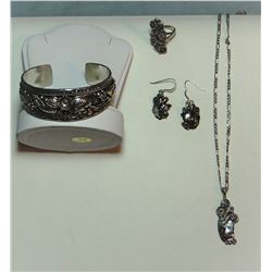 Morty Johnson sterling silver bracelet, necklace, earrings and ring