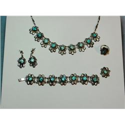 Turquoise and sterling silver necklace, earrings, ring and bracelet set