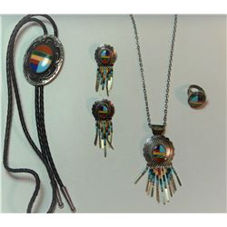 Turquoise and coral and sterling silver set, necklace, bolo tie, ring