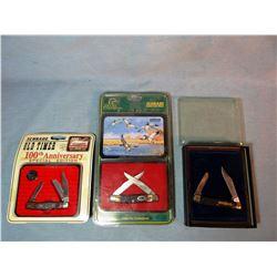 3 Schrade Ltd Ed. Pocket knives, NIB, Old Timer's and DU Comm.
