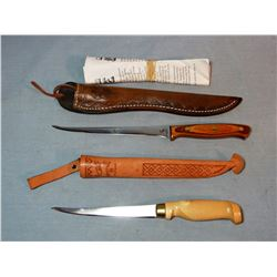 """2 fish filet knives, Leech Lake Knife Co, Iowa and Finland -made, both w/6"""" blades, new"""