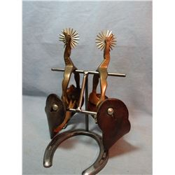 Buermann Hercules Bronze gal leg spurs, silver spots, 1 rowel chipped & Rifle scabbard, flower toole