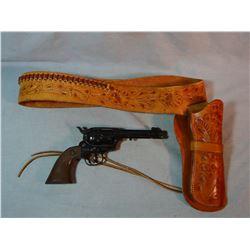 Buckheimer SAA holster w/cartridge belt, made in Maryland w/Daisy BB revolver