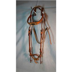 Trophy headstall, Champion Pole Bender, sterling silver on braided horsehair headstall