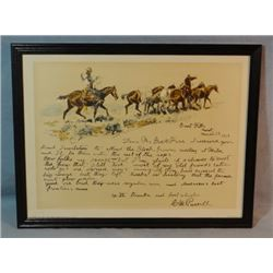 """1 C.  M. Russell print, Letter to George W. Farr, 9"""" x 14"""", unframed"""