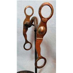 Crockett copper and silver mtd gal leg bit, large, mint