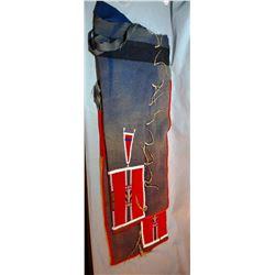 "Plains Indian beaded leggins on wool trade cloth, 31"" h,  nice"
