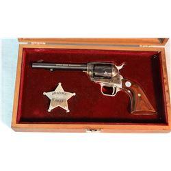 "Colt Arizona Ranger Comm. .22LR, nickel trimmed, 5 1/2"" bbl., badge and cased, sn: 566AR"