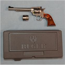 """Ruger New Model Single Six, .22, stainless, etched cylinder, 6 1/2"""" bbl, carved wood grips, sn: 266-"""