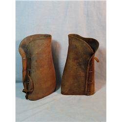 """U. S. Cavalry leather leggings, stamped Summers, Pasadena, CA., 12"""""""
