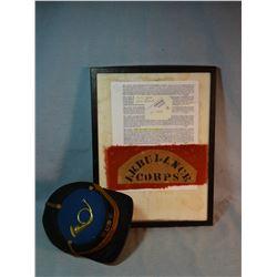 "Civil War Ambulance Corp10"" arm band, original and very rare; and Civil War era kepi bugler's hat, v"
