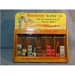 Remington Hi-Speed 22's ammo display case, w/live ammo.