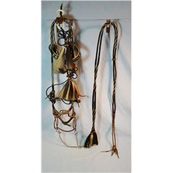 Hitched horse bridle, Deer Lodge, ca. early 1900's, black & white w/matching reins and rare globe bi
