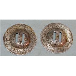 2 Eddie Hulbert sterling silver conchos, stamped w/ Eddie's sterling mark