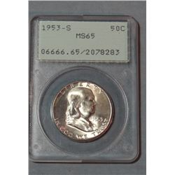 2 Franklin half dollars, 1953-S PCGS MS 65 and 1962 NGC Proof 67