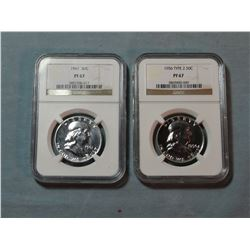 2 Franklin half dollars, 1956 NGC Proof 67 and  1961 NGC Proof 67