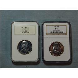 2 Franklin half dollars, 1963 NGC Proof 66, 1965 NGC Proof 67
