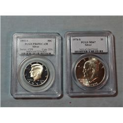 2 coins: Kennedy silver half dollar, 1992 S, PCGS Proof 69; 1976 S Ike silver dollar, PCGS MS 67