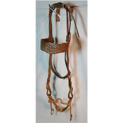 Visalia-marked full flower tooled bridle w/iron bit, marked at end of billet