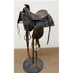 Salesman sample trail ride saddle, Nebraska-made, 1870-1880's, very rare, one stirrup fender replace