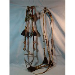 Deer Lodge hitched horsehair bridle w/reins, made in 1920's by Angus McCabe, Deer Lodge prisoner, ow
