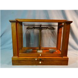 Becker and Sons Scale, from Bannack, MT, late 1800's. In original glassed case, has weights