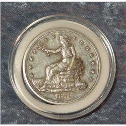 1876 S trade dollar, very fine