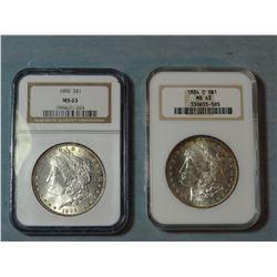 2 Morgan dollars, 1884 -O and 1896, both NGC MS 63