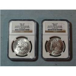 2 Morgan dollars, 1885 -O and 1887, both NGC MS 63