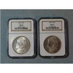 2 Morgan dollars, 1881 S and 1883-O, both NGC 63