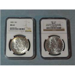 2 Morgan dollars, 1885 and 1887, both NGC 63