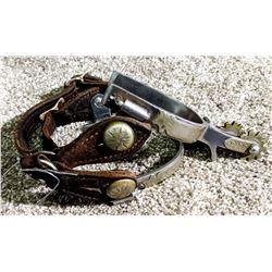 """Crockett Renalde nickel silver mtd. spurs, 2"""" shanks, 10 pt rowels"""