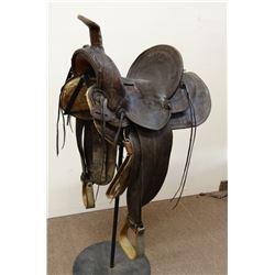 "George Lawrence high back loop seat saddle, 13"" seat, full flower tooled,"