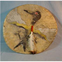 "Native American dance shield, Thunder Bird, 19"" diameter"